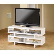 Contemporary White Open Storage TV Console