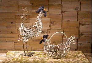 Gentry Wire Chickens and Basket - Set of 2
