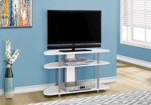 """TV STAND - 38""""L / WHITE WITH SILVER ACCENT"""
