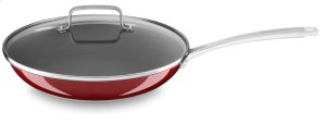 "Stainless Steel 12"" Nonstick Skillet with lid - Candy Apple Red"