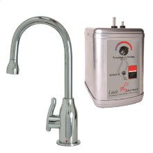 Francis Anthony Collection - Hot Water Faucet with Modern Curved Body & Handle & Little Gourmet® Premium Hot Water Tank - Polished Chrome