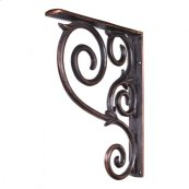 """1-1/2"""" X 10"""" X 13-1/2"""" Metal (Iron) Scrolled Bar Bracket. Finish: Dark Brushed Antique Copper. Mounting Screws (#8x3/4"""") Included. Not for outdoor use."""