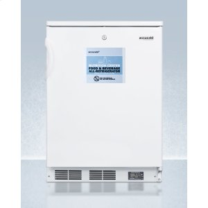SummitCommercially Approved Nutrition Center Series All-refrigerator In White for Freestanding Use, With Front Lock and Digital Temperature Display