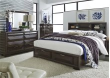 King Storage Bed, Dresser & Mirror
