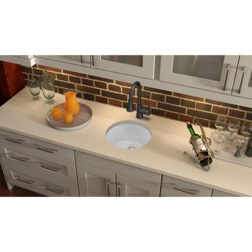 "Elkay Quartz Classic 18-1/8"" x 18-1/8"" x 7-1/2"", Single Bowl Dual Mount Bar Sink, White"