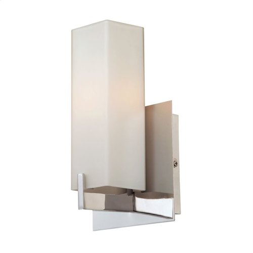 Moderno 1-Light Wall Lamp in Matte Satin Nickel with Rectangular White Opal Glass
