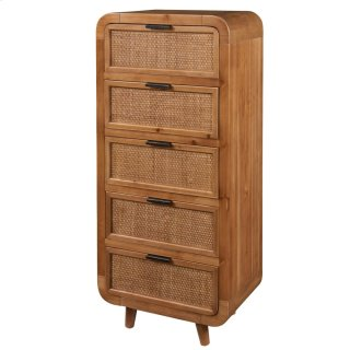 Maile KD Small Cabinet w/ 5 Bamboo Panels Drawers, Tawny Brown