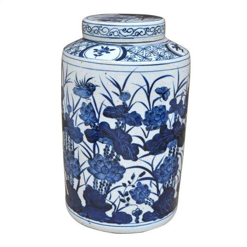 Blue & White Ceramic Urn