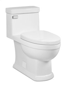 White KARO II One-Piece Toilet 1.28gpf, Elongated with White Enamel Metal Finish