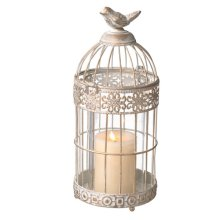 Small White and Gold Bird Cage Pillar Holder.