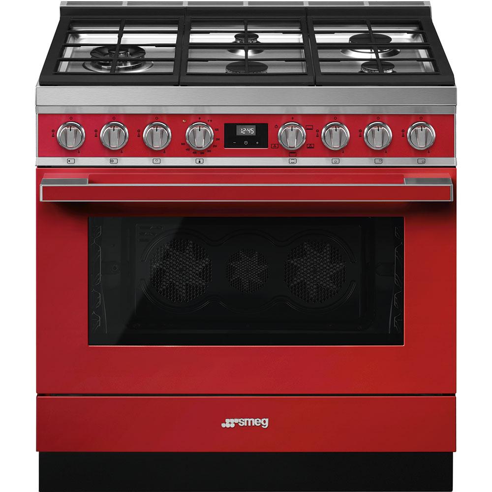 """SmegPortofino Pro-Style Gas Range, Red, 36"""" X 25"""""""