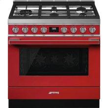 "Portofino Pro-Style Gas Range, Red, 36"" x 25"""