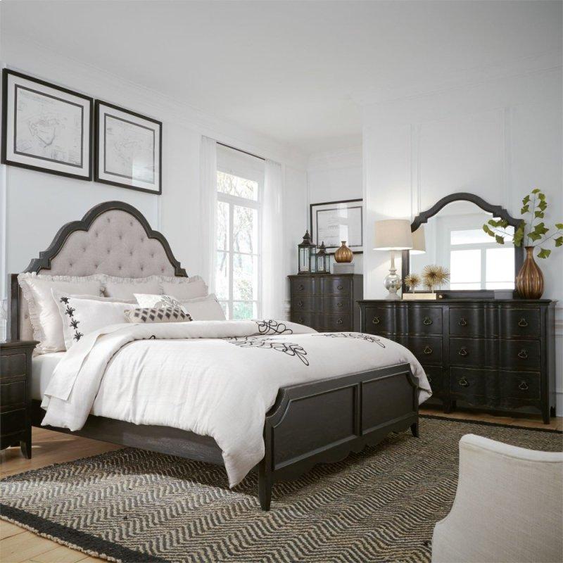 Queen Uph Bed Dresser Mirror Chest