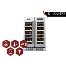 KUCHT 40-Bottle Dual Zone Wine Cooler Built-in with Compressor in Stainless Steel