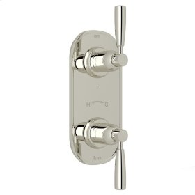 """Polished Nickel Perrin & Rowe Holborn 1/2"""" Thermostatic/Diverter Control Trim with Holborn Metal Lever"""