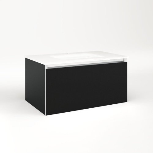"""Cartesian 30-1/8"""" X 15"""" X 18-3/4"""" Single Drawer Vanity In Matte Black With Slow-close Plumbing Drawer and No Night Light"""