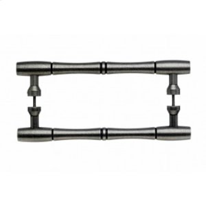 Nouveau Bamboo Door Pull Back to Back 8 Inch (c-c) - Pewter Antique