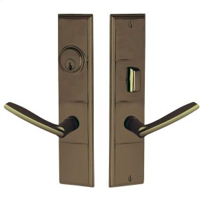 Satin Brass and Black Houston Escutcheon Entrance Set
