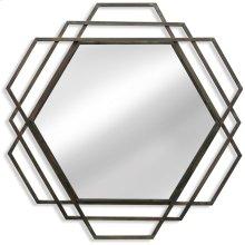 Metal Hexagon Mirror  32in X 32in X 1in  Wall Mirror