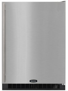 """24"""" Marvel Refrigerator, Right Hinge, Black cabinet, STAINLESS full wrap door and bar handle"""