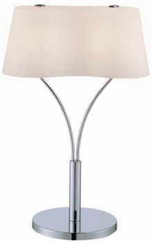 Table Lamp, Chrome/frost Glass Shad E27 Cfl 13wx 2