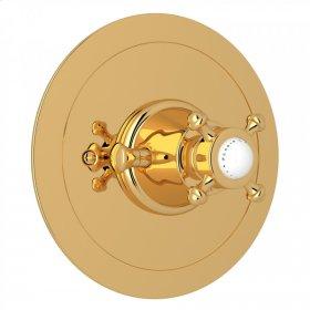 English Gold Perrin & Rowe Georgian Era Round Thermostatic Trim Plate Without Volume Control with Georgian Era Cross Handle