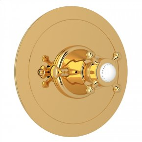 English Gold Perrin & Rowe Georgian Era Round Thermostatic Trim Plate Without Volume Control with Georgian Era Cross Handle