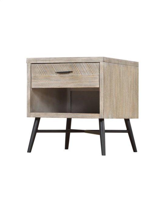 Emerald Home Nova End Table Wood W/1 Drawer Sterling Gray-black Metal Legs T700-01