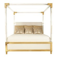 King-Sized Aiden Acrylic Canopy Upholstered Bed