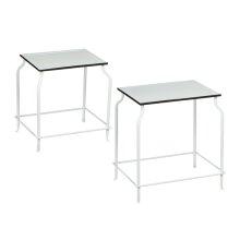 2 pc. set. Black and White Enamel Rectangle Side Tables. (2 pc. set)