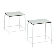 2 pc. set. Black and White Enamel Rectangle Side Tables. (2 pc. set)