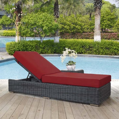 Summon Outdoor Patio Sunbrella® Chaise Lounge in Canvas Red