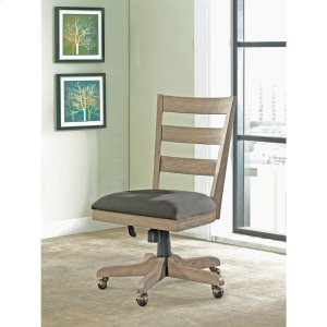 RiversidePerspectives - Wood Back Upholstered Desk Chair - Sun-drenched Acacia Finish