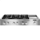 """Pro-Style® Gas Rangetop with Griddle, 48"""", Stainless Steel Product Image"""