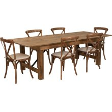 8' x 40'' Antique Rustic Folding Farm Table Set with 6 Cross Back Chairs and Cushions