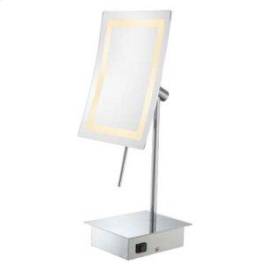 Brushed Nickel Single-Sided LED Rectangular Minimalist Free Standing Mirror