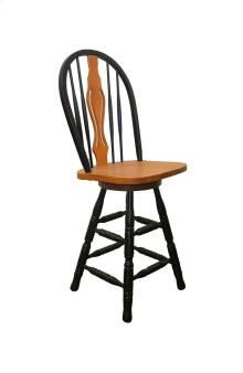 """Sunset Trading 24"""" Keyhole Barstool in Antique Black with Cherry Accents - Sunset Trading"""