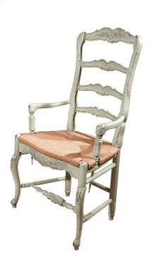 New Country French Arm Chair with Rush Seat