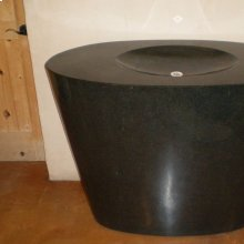 Custom Mammoth Infinity Pedestal Sink, Black Granite