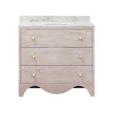 Bath Vanity With White Marble Top In Cerused Oak With Antique Brass Hardware