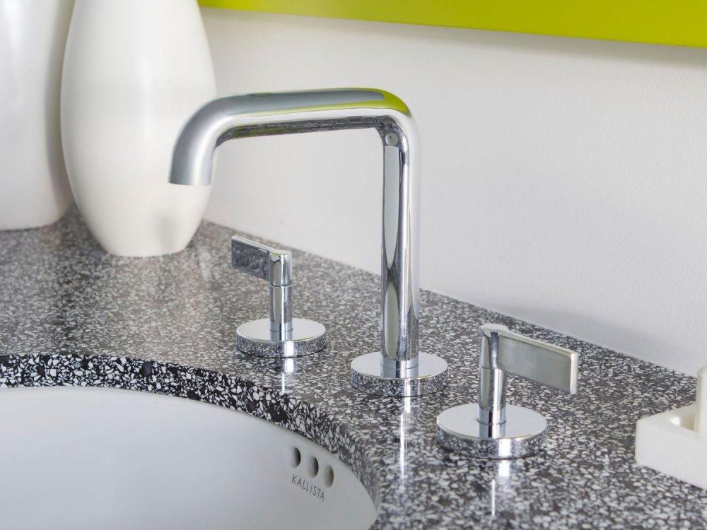 Hidden · Additional Sink Faucet, Tall Spout, Lever Handles   Unlacquered  Brass