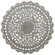 Carved Round Greywash Floral Wall Decor.