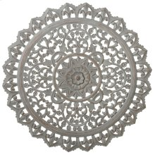 Carved Round Greywash Floral Wall Decor.