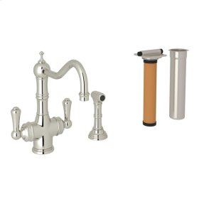Polished Nickel Perrin & Rowe Edwardian Filtration 2-Lever Kitchen Faucet With Sidespray with Traditional Metal Lever