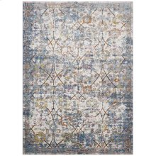 Minu Distressed Floral Lattice 4x6 Area Rug in Light Blue, Yellow and Orange