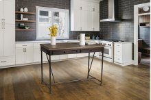 Casselberry Counter Height Table (pipe Leg) - Distressed Walnut With Brown Metal