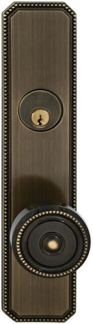 Exterior Traditional Mortise Entrance Knob Lockset with Plates in (SB Shaded Bronze, Lacquered) Product Image