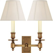 Visual Comfort S2212HAB-L Studio French 2 Light 12 inch Hand-Rubbed Antique Brass Decorative Wall Light in Linen