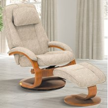 Teatro (Tan) Linen Fabric with Walnut Finish - Reclines - Swivels - Lumbar Support - Adjustable Headrest - Quality Textured Fabric
