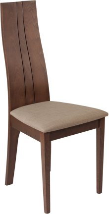Essex Walnut Finish Wood Dining Chair with Magnolia Brown Fabric Seat